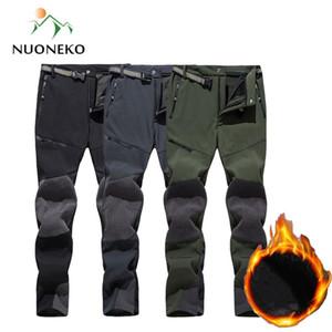 NUONEKO hiver Pantalons Survêtement Hommes Polaires Pantalons imperméables Side Pocket Outdoor Sport Trekking Ski de randonnée Pantalons PM45