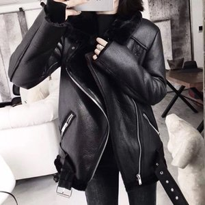 Ailegogo 2020 Winter Coats Women Thick Faux Leather Fur Sheepskin Coat Female Fur Leather Jacket Aviator Jacket Casaco Feminino Y1112