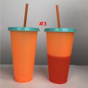 24oz Color Changing Cup Magic Plastic Drinking Tumblers with Lid and Straw Reusable Candy Colors Cold Cup Summer Water Bottle BED3156