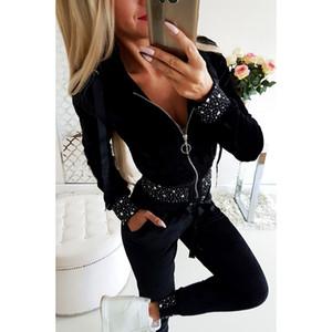 Sports mulheres Calças Mulher Plus Size 2 ternos manga comprida Zipper Hot perfuração do sexo feminino Túnica Calças Conjuntos
