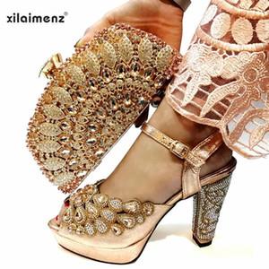 Персик Мода Свадебная обувь и сумки на матч итальянки обувь и сумка Matching Set Африканский стиль Насосы сандалии Набор для партии