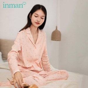 INMAN 2020 Autumn New Arrival Home Wear Outing Long Sleeve Trousers Printing Casual Pajamas 2-Piece Set Women's Shirt and Pants