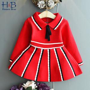 Юмор Медведь девушка свитер колледж Ветер Полосатого отворот Гофрированной весна и осенью Детская принцесса основывая платье