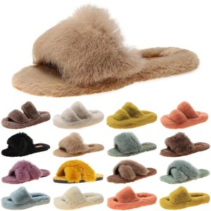 luxury women furry slides slippers winter womens fashion slide black fur slipper fluffy flat flip flops size 35-40