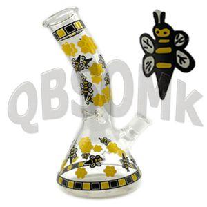 QBsomk Tall Yellow Bee Glass Beaker Bong Bubbler Water pipes With 14mm Bowl Smoking Hookahs Shisha Thick Glass Water Bongs Dabber