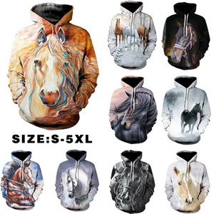 Plus Size S-5XL Hoodies Women Sweatshirt 3D Horse Men Couples Clothes Long Sleeve Pockets Streetwear Harajuku Pullovers Tops 201007