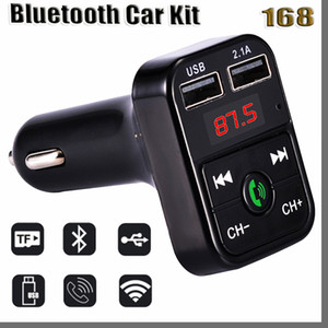 168D Bluetooth Headset B2 Bluetooth Car FM Transmitter Handsfree Bluetooth Car Kit Adapter USB Charger Mp3 Player Radio Kits Support Call