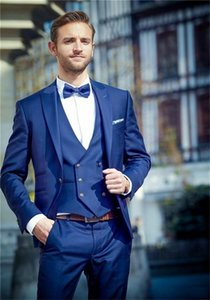 Brand New Groomsmen Peak Lapel Groom Tuxedos Blue Men Suits Wedding Prom Dinner Best Man Blazer ( Jacket+Pants+Tie+Vest ) K692