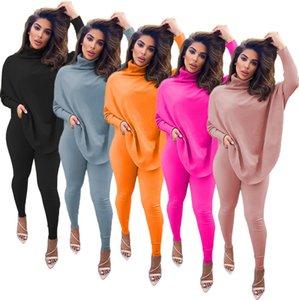 Frauen Zweiteiler Outfits Designer Fashion High Neck Sweater Hosen Anzüge beiläufige feste Hieb-Hülsen-Split Top Hosen Sets Laides Sportwear