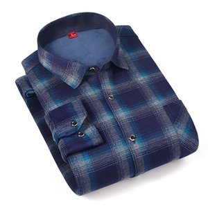 Aoliwen Brand 2020 winter big size plus velvet warm thick winter high quality long-sleeve shirt brand clothing men's plaid shirt
