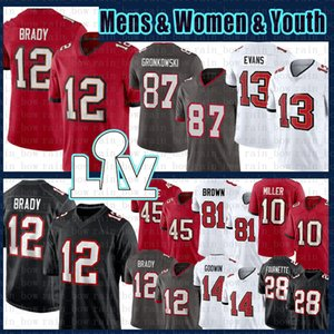 Tom Brady 12 Rob Gronkowski Football Jersey Mike Evans Chris Godwin Devin Branco Scotty Miller Ronald Jones II Leonard Fournette Mike AlstoTT