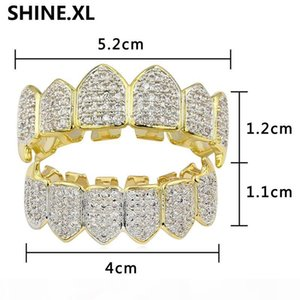 VampireNew Design Hip Hop Teeth Grillz Gold Plated iCED OUT Zircon Canine Tooth Cap Top & Bottom Grills Vampire Set