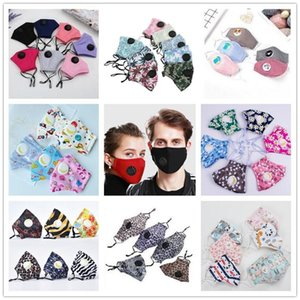 Reusable Washable Mouth Face Mask With Valve Anti-Dust Cotton For Adults Kids PM2.5 Filters Breathable Protective Designer Masks BWE1203