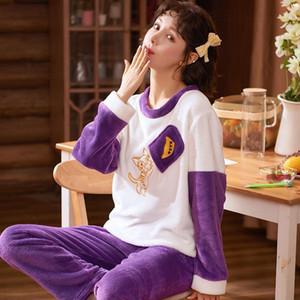 Camisa caliente franela suave de la manga ropa de noche completa de la historieta del invierno ocasional pijamas fijaron a las mujeres de las bragas mamá Homewear del tamaño grande Kpacotakowka