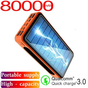 80000mah Solar Power Portable Charger Large Capacity LED Lamp 4usb External Battery Quick Charging for Samsung Xiaomi iPhone Free Shipping