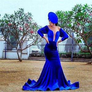 Plus Size Evening Dresses Sexy High V-neck Mother Dresses Long Sleeves Ruched Velvet Blue Formal Sweep Train Custom Made Party Gowns