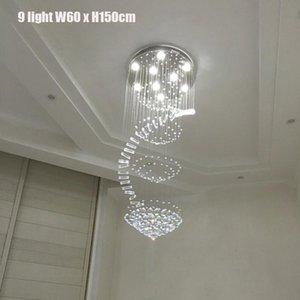 럭셔리 주도 빗방울 샹들리에 크리스탈 빛 GU10 주도 전구는 플러시 마운트 계단 조명기구 스테인레스 스틸 콜드 화이트 110V 220V 램프