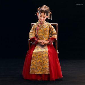 Принцесса Цветок Девушка Платье Китайский Стиль Свадьба День рождения Дети Платья для Девочек Детский Костюм Подросток Prom Designs1