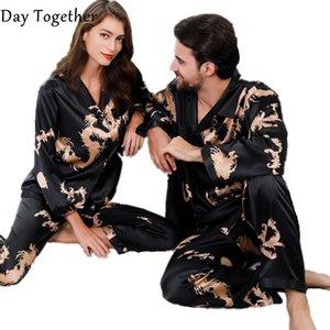 Amoureux d'été Couple Couple Pajamas Pajamas Pyjama Ensemble Pour Femmes Hommes Vent Chinese Dragon Dragon Print Longues Housse Sleep Height Home Vêtements 201109