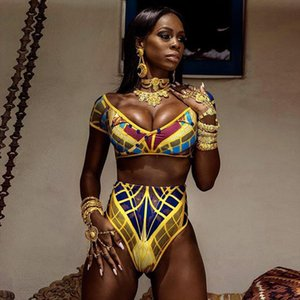 Summer Women African Printed Bikini Set Swimwear Push Up Padded High Waist Swimsuit Beachwear Bathing Suit maillot de bain p4