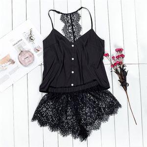 Suphis Black Pajama Set Women Satin Sleepwear Spaghetti Strap Camis Top Floral Lace Shorts Sexy Lingerie Pijama Femme Y200425