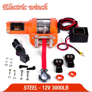 winch car 12v Remote Control Set Electric Winch 3000lb Heavy Duty ATV Trailer 15 high tensile steel cable Electric