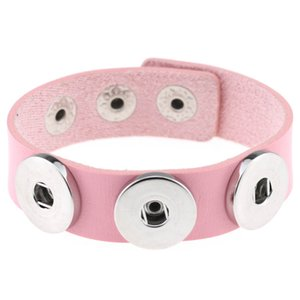 Snap Button Bracelet&Bangles 14 color High quality PU leather Bracelets For Women 18mm Snap Button Jewelry