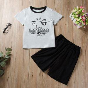 O verão esfria Criança Crianças Meninos dos desenhos animados Imprimir T-shirt Tops + Sólidos Shorts Roupa Set Boy Roupas Crianças S10 H055 #