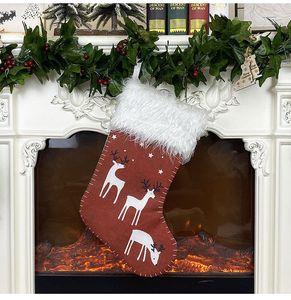 Decorazioni di Natale Calza Deer design lino tessuto non tessuto peluche calza 45 * 23cm Xmas Rosso Verde Grigio calze dono KKF1931
