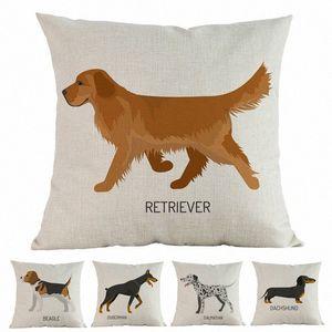 Nueva acuarela Perros Beagle Doberman dálmata labrador caniche Impreso Cojín decorativo del hogar del coche del sofá almohadilla de tiro de la caja uEQl #