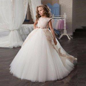 Vestidos de niña 2021 Chica elegante Pagento Princesa Arco Manga corta Vestido de graduación Vestido Longitud Flower
