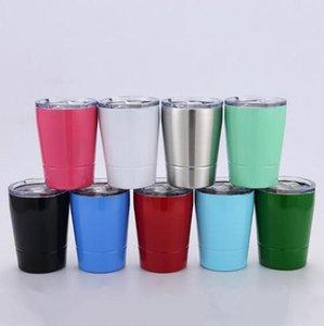 8 .5oz бокалы из нержавеющей стали двухслойного Milk Cup Travel Vehicle Пивной кружка Non -Vacuum Кружка с соломкой и крышка 9 цветов Lxl109