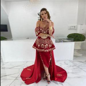 Trendy 2022 Red Moroccan Kaftan Muslim Evening Dresses Off Shoulder Long Sleeves Applique Beads Prom Dress Arabic Dubai Gown