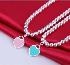 Buddha Beaded Bracelet Women's Ornament free Silver Blue Enamel Heart-shaped Round