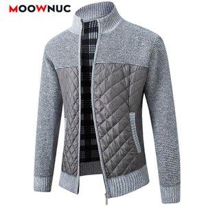 Hombres suéteres de moda casual Cardigan 2020 Escudo de manga larga Grueso remiendo clásico delgado Mantener caliente Hombre Primavera MOOWNUC otoño
