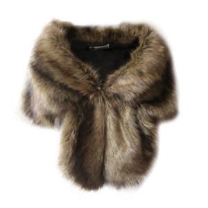 Faux мех свадебные пальто зимний теплый пиджак женщины пожимают плечами накидку верхней одежды леди мыс ежедневный носить Y200109