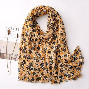 Luxury-Fashion Women cotton thin Scarf flower print Hijab soft Shawls and Wraps Bohemia Female Foulard Bandana Headscarf