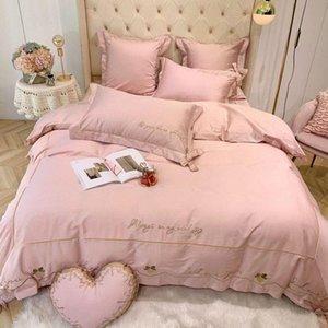 J3Solid Pembe Kırmızı Kız Yatak Love You Nakış Nevresim J / Yatak Seti Kral Kraliçe Nevresim Set Yastık Şems Kahverengi Yatak QF6v #