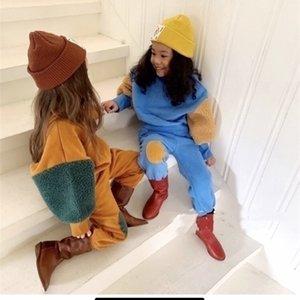 Дети Малыш Мальчик одежда Girl моды Корейский Clothings наборы руно CottonX1019