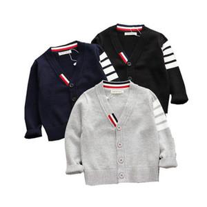 Moda menino listrado suéteres bebê algodão malha cardigan suéter crianças manga longa outono crianças roupas moda menino exterior desgaste