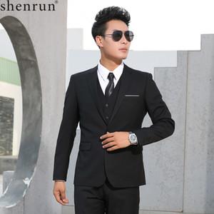 Shenrun Erkekler İnce İş Biçimsel Casual Klasik Suit Düğün Damat Parti Balo Tek Breasted Renk Siyah Gri Lacivert Mavi Suits
