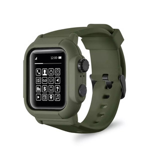 Waterproof Silicone Sport Band Strap With Case Cover For iwatch Apple Watch Series Bands 5 4 3 2 42mm 44mm 42 44 MM Accessories