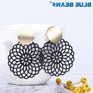 de chute BLEU Beans femmes bijoux de mode bohème noir accessoires métal longue boucle d'oreille Dangle minimaliste