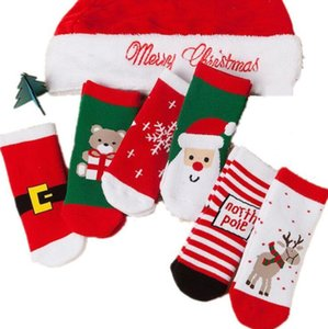 DHL 0-10 years old Cotton Winter Autumn Baby Girls Boys Kids Socks Children Striped Terry Snowflake Elk Santa Claus Christmas Bear fy7308