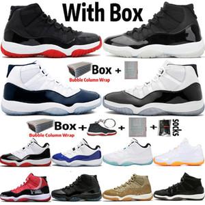 2020 Kutusu Jumpman Yüksek OG 11 11s 25th Yıldönümü Erkek Basketbol Ayakkabıları Bred UNC Gamma Mavi Concord Sneakers Kadın Spor Eğitmenleri 36-47