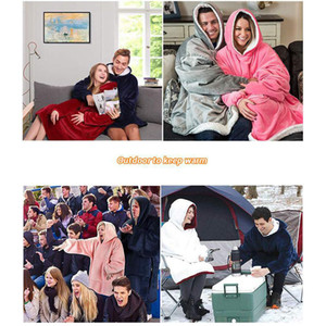 Lazy Blankets Pullover Fleece Hooded Portable TV Fashion Blanket Outdoor Cold Winter Warm Night Gown XD24099