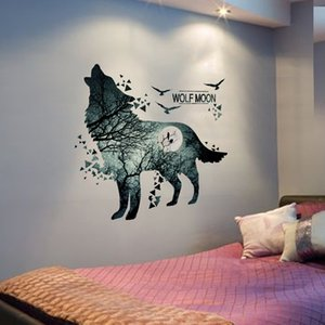 [shijuekongjian] Horrific Wolf Moon Forest Wall Stickers DIY Animal Mural Decals for Kids Room Dormitory Baby Bedroom Decoration 201130