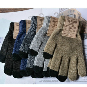 Hot Winter Warm thick touch screen gloves Women's Cashmere wool Knitted Gloves Solid Mittens JXW727
