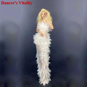 White feather Rhinestone Long Dress Birthday Party Mesh Set Prom Show Bar Ballerina Dresses for Women Party dress performance