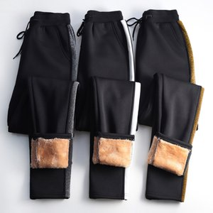 OUMENGKA Winter Cashmere Harem Pants Women Casual Thick Warm Lambskin Cashmere Black Side Striped Loose Plus Size S-5XL Trousers Y200114